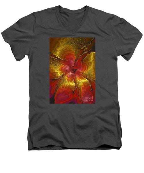 Vibrant Red And Gold Men's V-Neck T-Shirt by Deborah Benoit