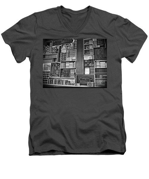 Men's V-Neck T-Shirt featuring the photograph Vintage Bookcase Art Prints by Valerie Garner