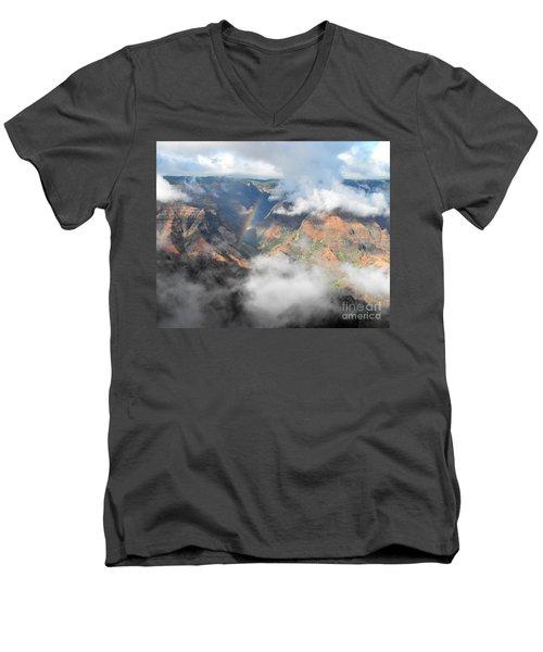 Waimea Canyon Rainbow Men's V-Neck T-Shirt by Rebecca Margraf