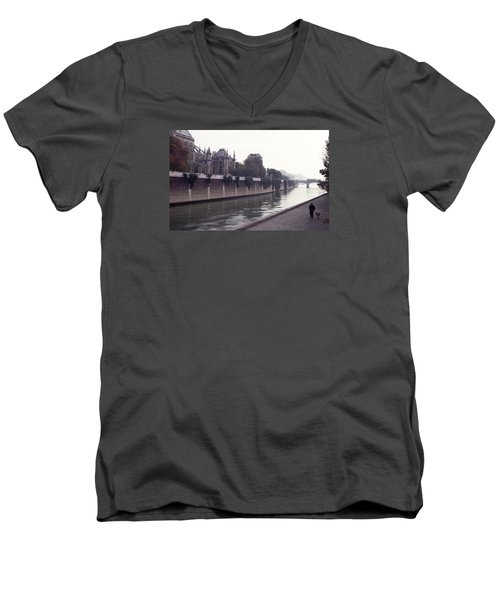Men's V-Neck T-Shirt featuring the photograph Walking The Dog Along The Seine by Tom Wurl
