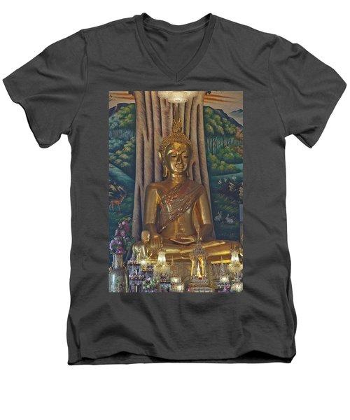 Wat Kaewjamfa Ubosot Principal Buddha Dthb1072 Men's V-Neck T-Shirt