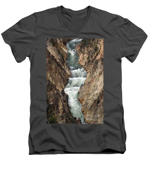 Men's V-Neck T-Shirt featuring the photograph Water And Rock by Living Color Photography Lorraine Lynch