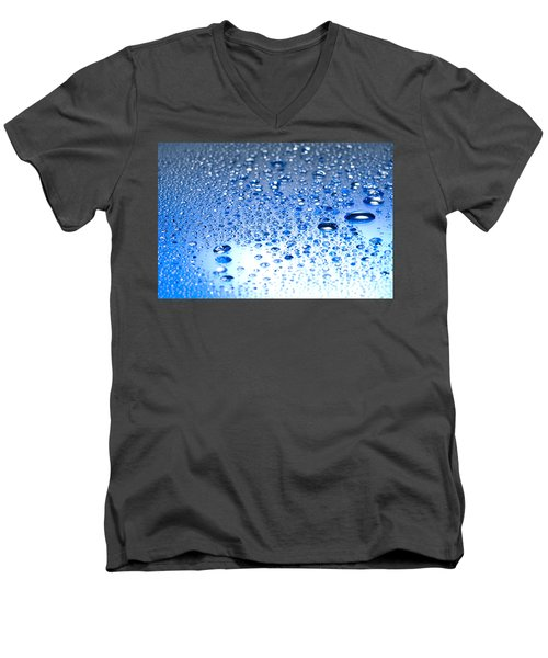 Men's V-Neck T-Shirt featuring the photograph Water Drops On A Shiny Surface by Ulrich Schade