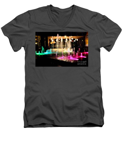 Water Fountain With Stars And Blue Green With Pink Lights Men's V-Neck T-Shirt