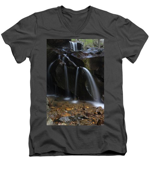 Waterfall On Emory Gap Branch Men's V-Neck T-Shirt