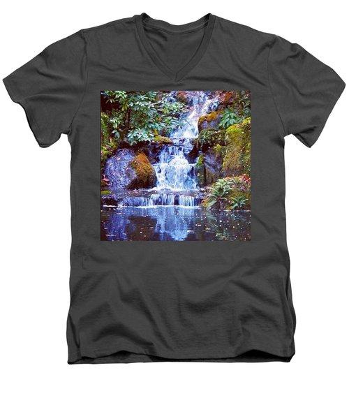 Waterfall - Portland Japanese Garden Portland Or Men's V-Neck T-Shirt