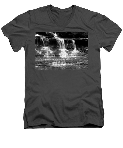 Waterfall Trio At Mcconnells Mill State Park In Black And White Men's V-Neck T-Shirt