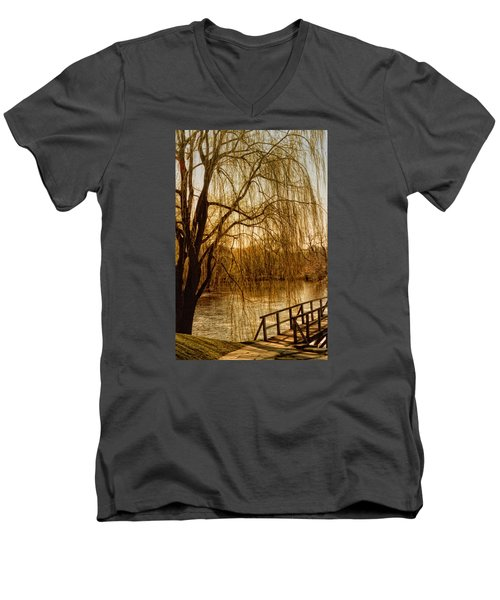 Men's V-Neck T-Shirt featuring the photograph Weeping Willow And Bridge by Barbara Middleton