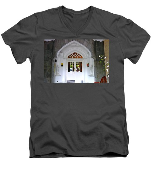Men's V-Neck T-Shirt featuring the photograph Welcome To The Manor by Charlie and Norma Brock
