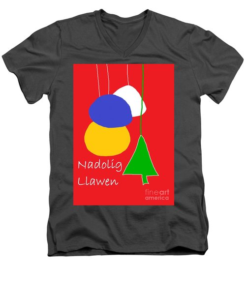 Men's V-Neck T-Shirt featuring the digital art Welsh Christmas Card by Barbara Moignard