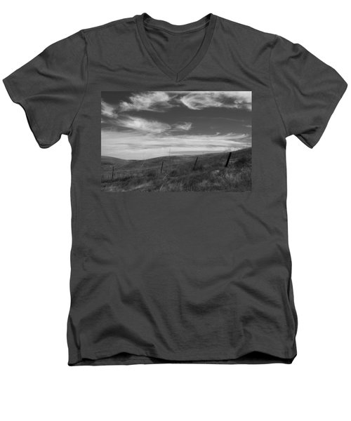 Men's V-Neck T-Shirt featuring the photograph Whipping Up The Hillside by Kathleen Grace