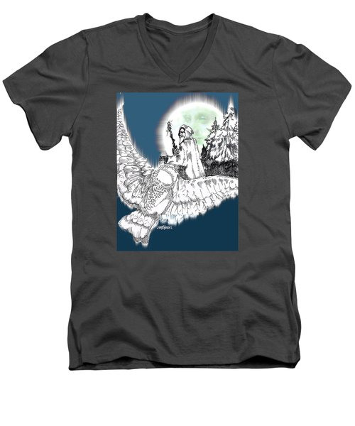 Men's V-Neck T-Shirt featuring the drawing Whisper In The Wind by Seth Weaver