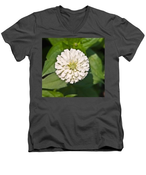 Men's V-Neck T-Shirt featuring the photograph White Zinnia And Green Leaves by Susan Leggett
