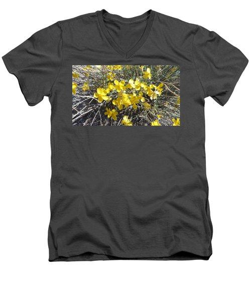 Men's V-Neck T-Shirt featuring the photograph Wild Desert Flowers by Kume Bryant