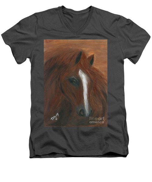 Men's V-Neck T-Shirt featuring the painting Wildfire by Barbie Batson
