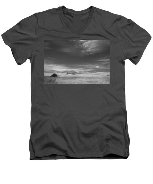 Men's V-Neck T-Shirt featuring the photograph Windmills In The Distant Hills by Kathleen Grace