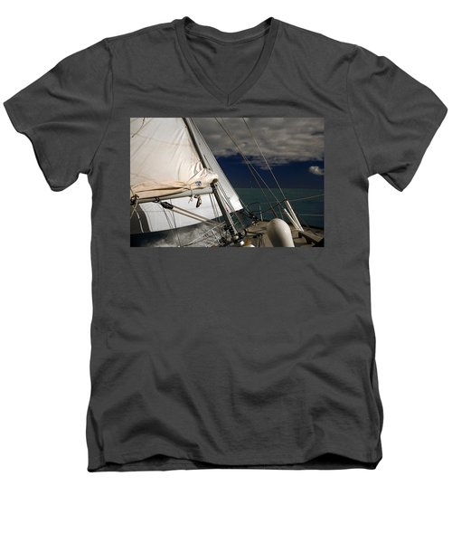 Windy Day Men's V-Neck T-Shirt by Sally Weigand