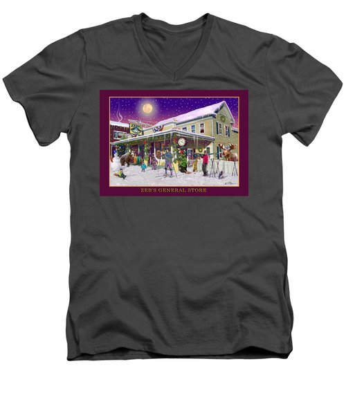Winter At Zebs General Store In North Conway Nh Men's V-Neck T-Shirt