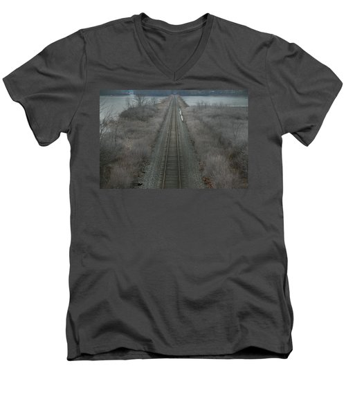 Men's V-Neck T-Shirt featuring the photograph Winter Tracks  by Neal Eslinger