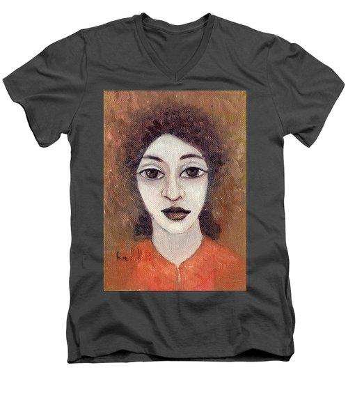 Woman With Large Dark Brown Eyes And Hair Orange Shirt Dark Eyebrows  Men's V-Neck T-Shirt by Rachel Hershkovitz