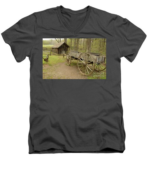 Wooden Wagon Men's V-Neck T-Shirt by Cindy Manero