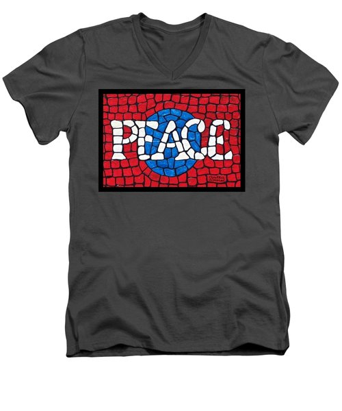 Men's V-Neck T-Shirt featuring the painting World Peace by Cynthia Amaral