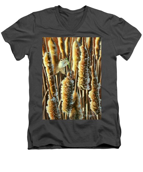 Wren And Cattails 2 Men's V-Neck T-Shirt