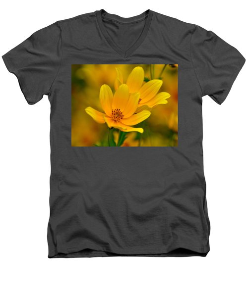 Men's V-Neck T-Shirt featuring the photograph Yellow Blaze by Marty Koch