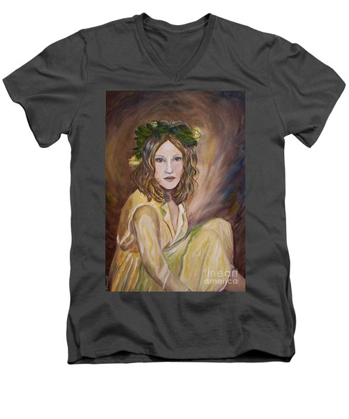 Men's V-Neck T-Shirt featuring the painting Yellow Rose by Julie Brugh Riffey