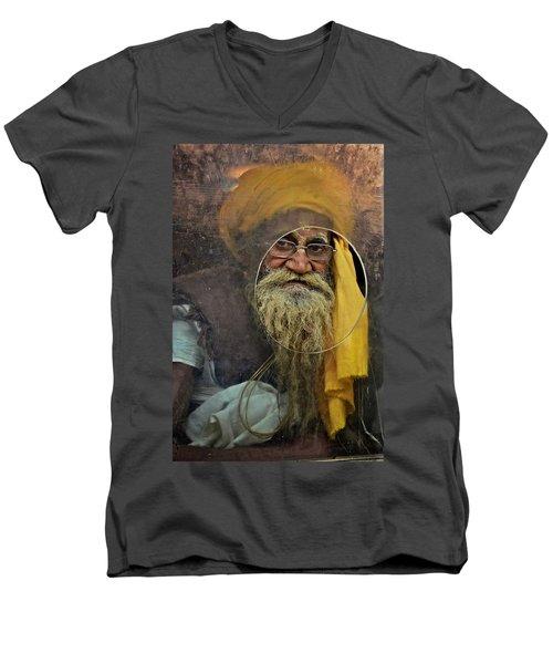 Yellow Turban At The Window Men's V-Neck T-Shirt