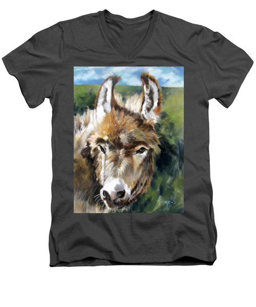 Men's V-Neck T-Shirt featuring the painting You Want To Pin The Tail On The What by Rae Andrews