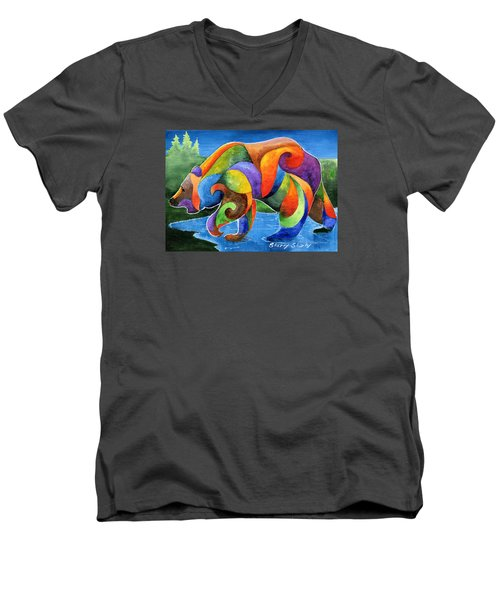Zen Bear Men's V-Neck T-Shirt by Sherry Shipley