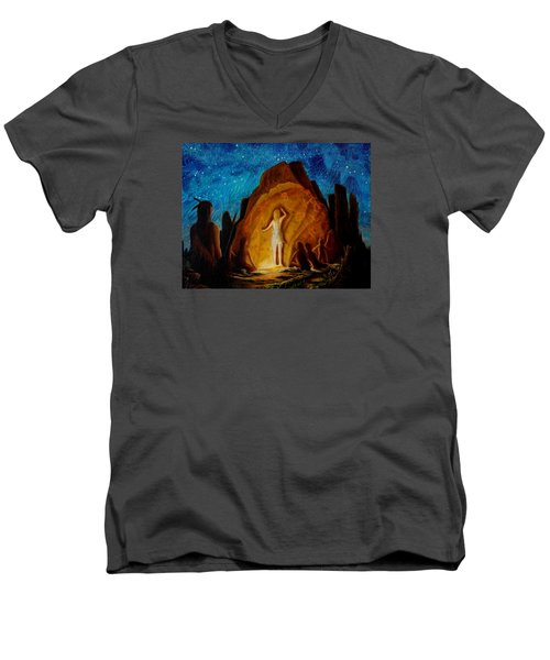 Men's V-Neck T-Shirt featuring the painting . . . They Elected Her To Tell Their Story . . . by Matt Konar
