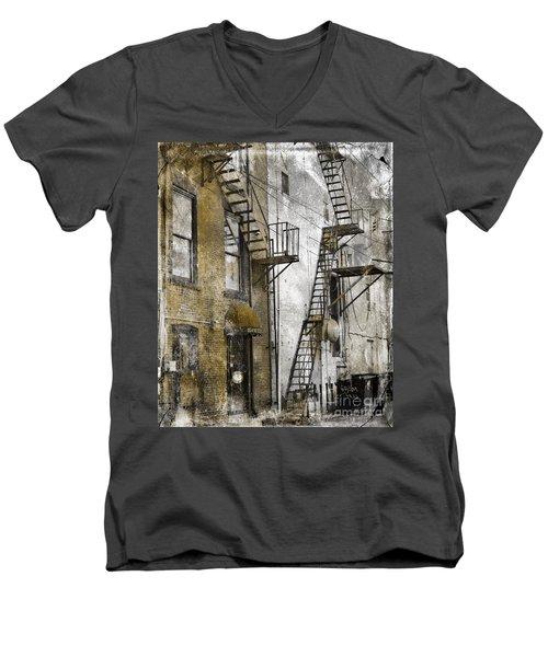 Alleyway In Portland, Me Men's V-Neck T-Shirt