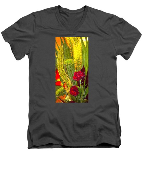 Men's V-Neck T-Shirt featuring the photograph  Artistic Floral Arrangement by Merton Allen