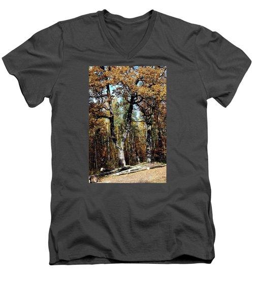 Autumn In Forest Men's V-Neck T-Shirt by Henryk Gorecki