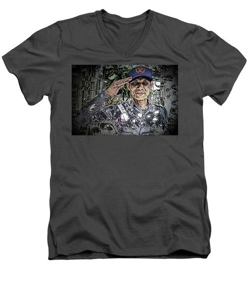 Bank Security Officer - On A Rainy Day Men's V-Neck T-Shirt by Ian Gledhill