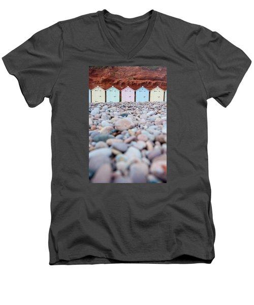 Beach Huts And Pebbles Men's V-Neck T-Shirt