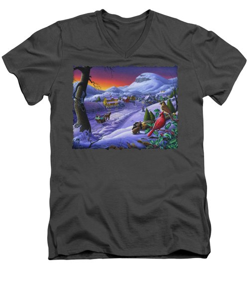 Christmas Sleigh Ride Winter Landscape Oil Painting - Cardinals Country Farm - Small Town Folk Art Men's V-Neck T-Shirt