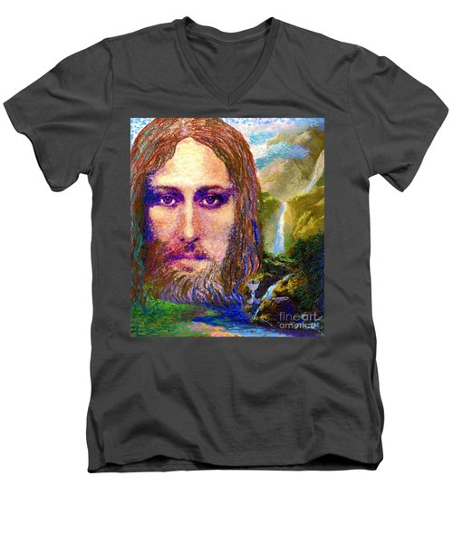 Contemporary Jesus Painting, Chalice Of Life Men's V-Neck T-Shirt by Jane Small