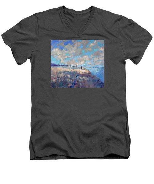 Men's V-Neck T-Shirt featuring the painting  Eternal Wanderers by Anastasija Kraineva