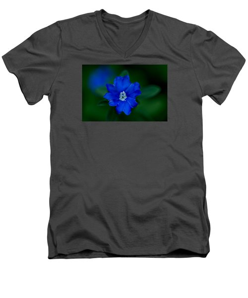 Men's V-Neck T-Shirt featuring the photograph  Evolvulus Glomeratus Hawaiian Blue Eyes by Keith Hawley