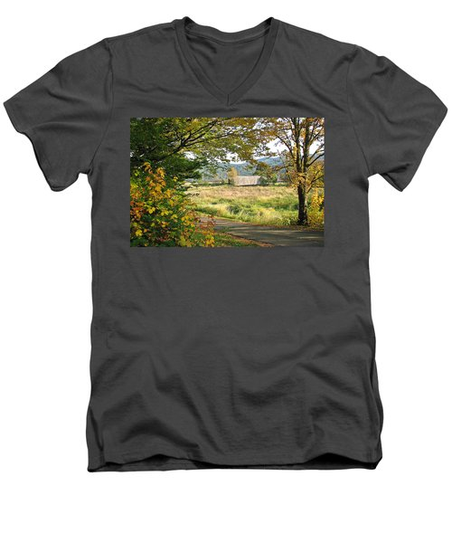 Fall At Grays River Covered Bridge Men's V-Neck T-Shirt