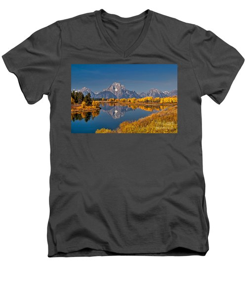 Fall Colors At Oxbow Bend In Grand Teton National Park Men's V-Neck T-Shirt by Sam Antonio Photography