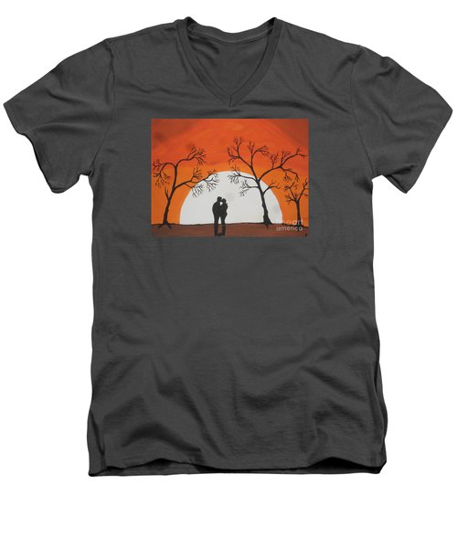 Men's V-Neck T-Shirt featuring the painting  First Kiss by Jeffrey Koss