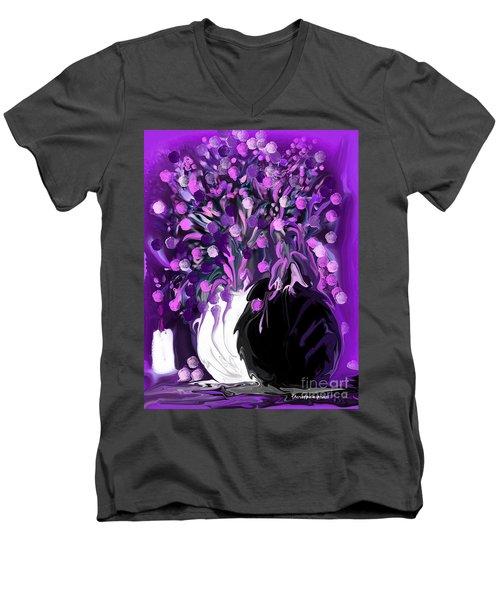 Flower Art Love Purple Flowers  Love Pink Flowers Men's V-Neck T-Shirt
