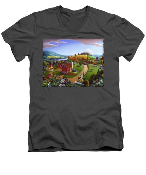 Folk Art Blackberry Patch Rural Country Farm Landscape Painting - Blackberries Rustic Americana Men's V-Neck T-Shirt