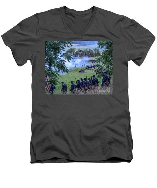 Gettysburg Union Artillery And Infantry 7465c Men's V-Neck T-Shirt