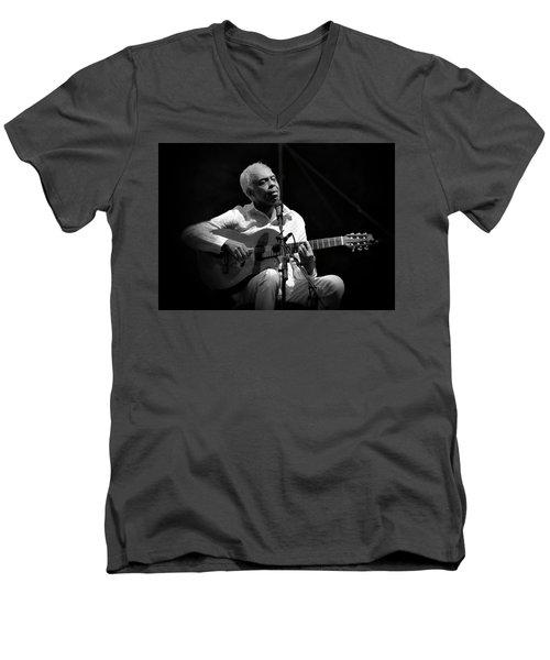 Gilberto Gil   Black And White Men's V-Neck T-Shirt