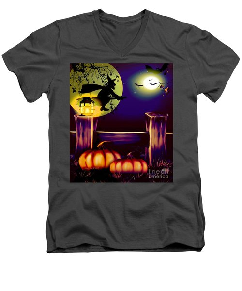 Halloween Witches Moon Bats And Pumpkins Men's V-Neck T-Shirt by Annie Zeno